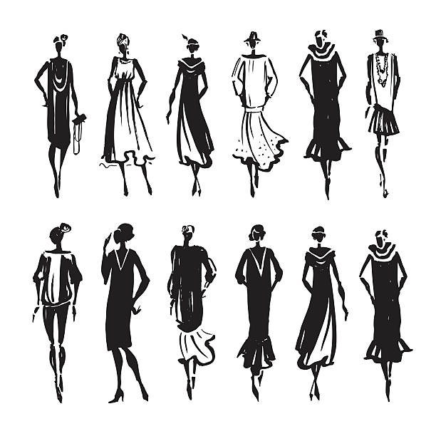 beautiful woman silhouette - 1920s style stock illustrations, clip art, cartoons, & icons