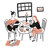 A beautiful woman sitting and eating breakfast with her best friend and drinking coffee. Moments of relaxation the appearance and lifestyle. Collection of hand drawn. Vector illustration in sketch doo
