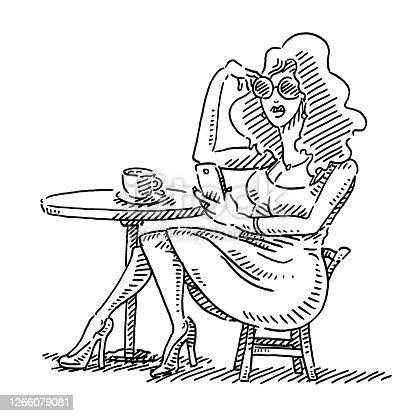 Beautiful Woman Sitting At Coffee Table Drawing