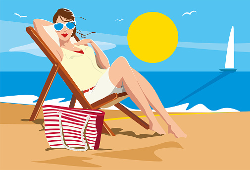 Beautiful woman sunbathing sitting in a hammock