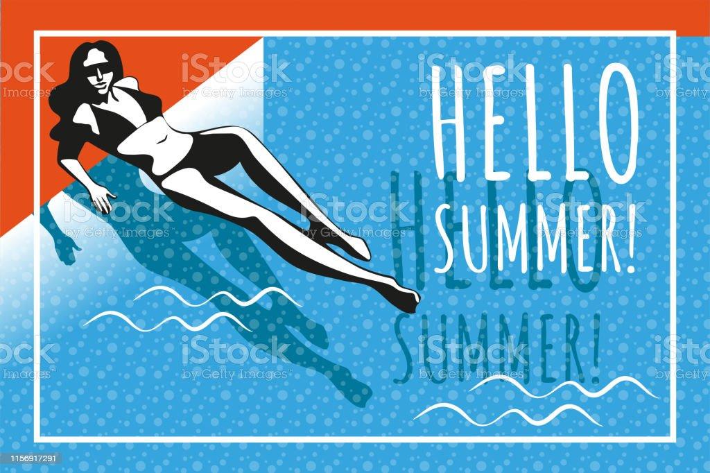 f84060a273 Mulher bonita que tanning, com óculos de sol, chapéu, na praia, estilo