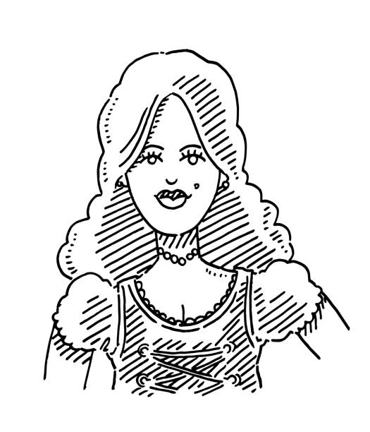 Beautiful Woman Traditional Dirndl Drawing Hand-drawn vector drawing of a Beautiful Woman wearing a Traditional Bavarian Dirndl. Black-and-White sketch on a transparent background (.eps-file). Included files are EPS (v10) and Hi-Res JPG. oktoberfest stock illustrations