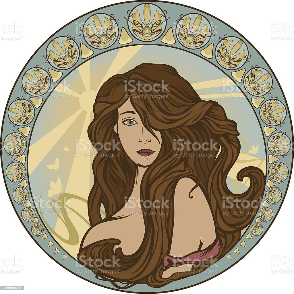 beautiful woman vector art illustration