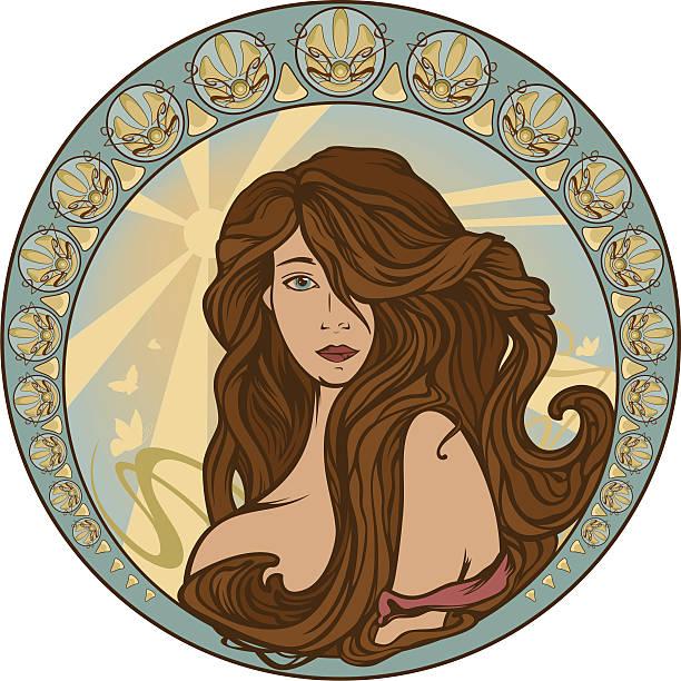 beautiful woman vector art illustration