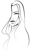 Beautiful Face of a woman. Black and white. Vector Illustration.
