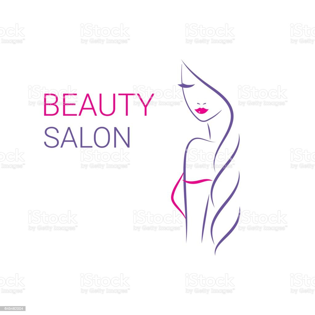 beautiful woman vector logo template for hair salon beauty