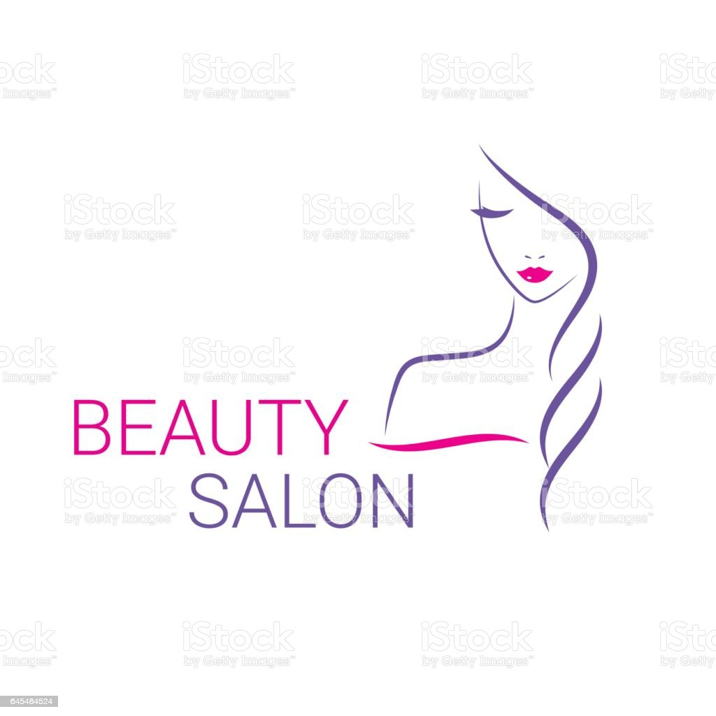 Beautiful woman vector logo template for hair salon, beauty salon, cosmetic procedures, spa center vector art illustration