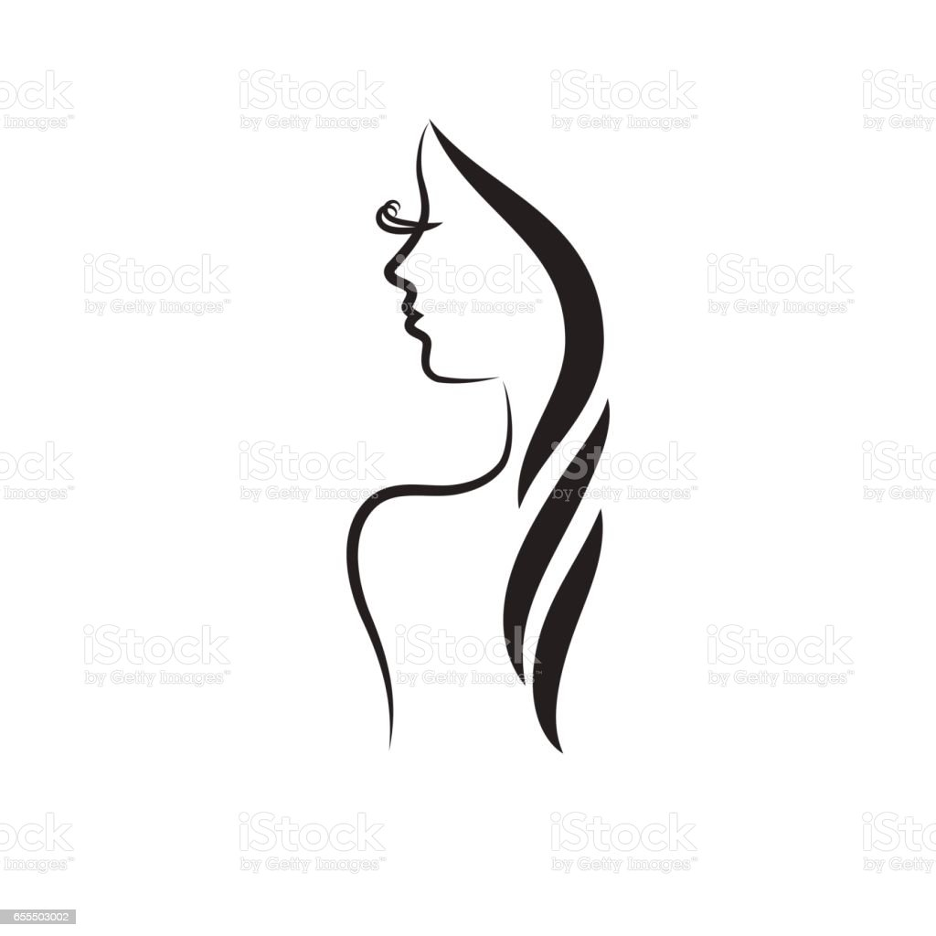 Beautiful woman vector logo template vector art illustration