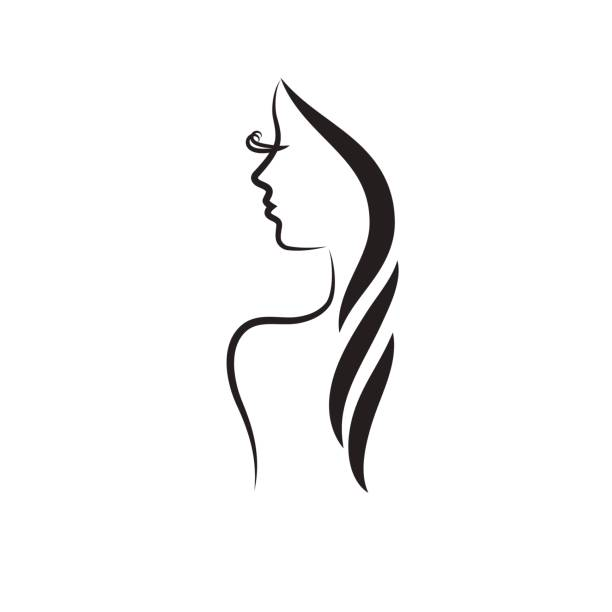 beautiful woman vector logo template - beauty stock illustrations, clip art, cartoons, & icons