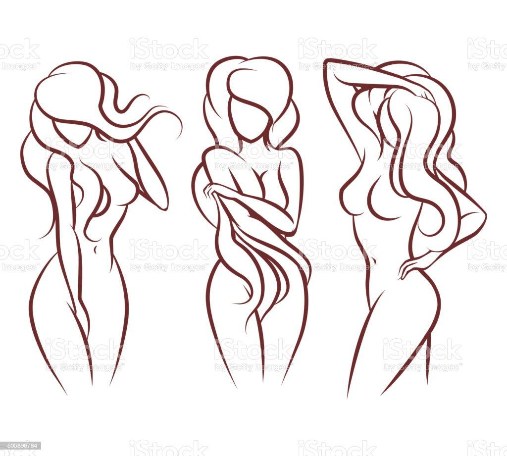 Beautiful woman vector silhouette vector art illustration