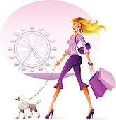 A beautiful woman with shopping bags walking her dog. High Resolution JPG and Illustrator 0.8 EPS included.