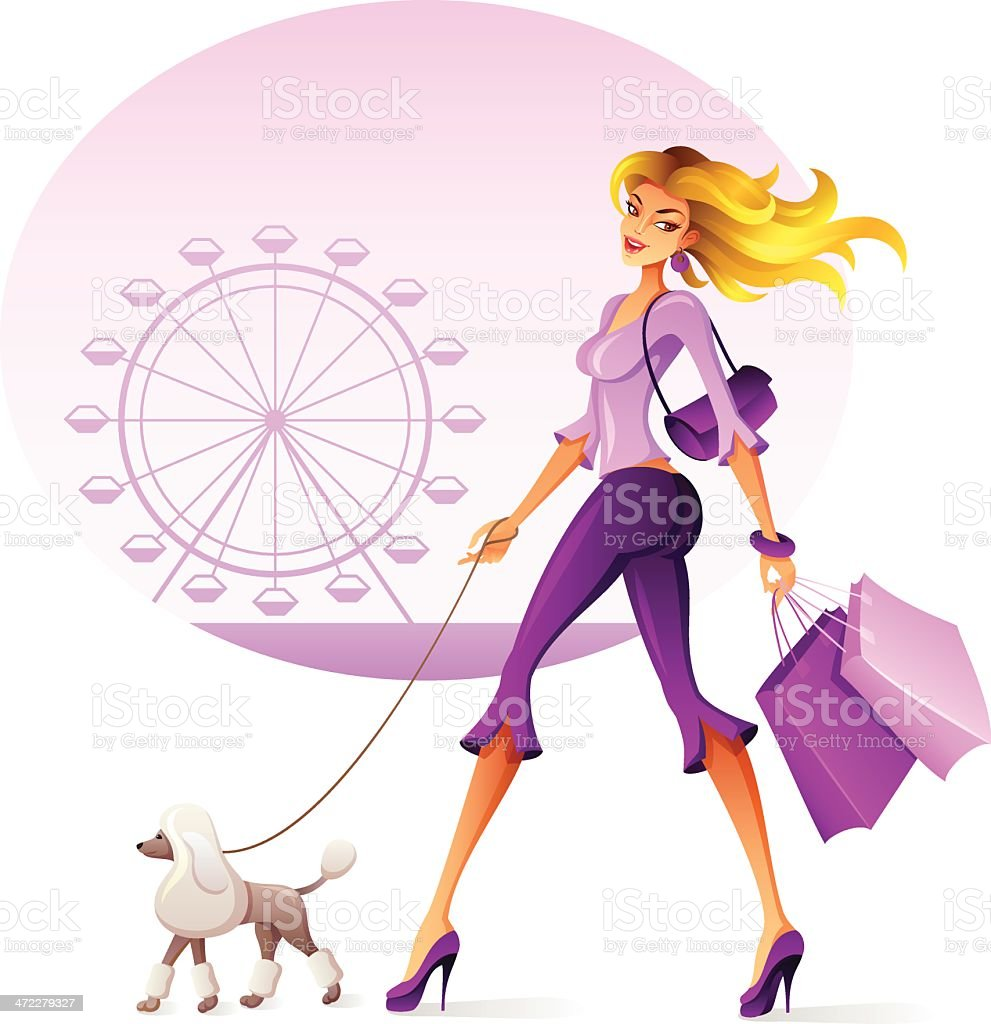 Beautiful woman walking her dog. vector art illustration