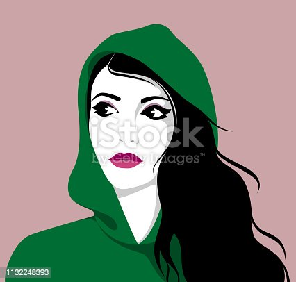 Vector illustration of beautiful modern young woman with long black hair wearing hoodie