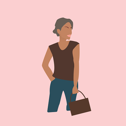 A beautiful woman with a bun on her head in jeans and a bag in her hand. Vector illustration of the model. The girl on the cover of a fashion magazine