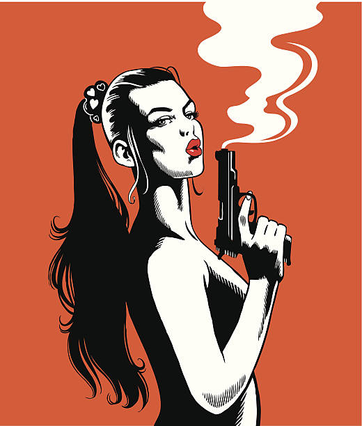 Beautiful Woman With a Smoking Gun She's cool. She's beautiful. She's sexy. She's just completed her assignment and she's looking at you.   pin up girl stock illustrations