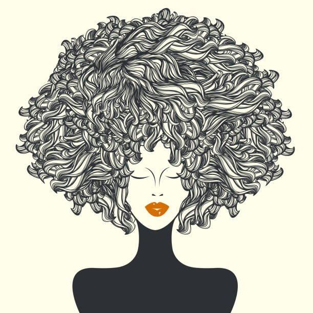 Beautiful woman with afro curly hair and nice makeup.Hair and beauty salon illustration. vector art illustration