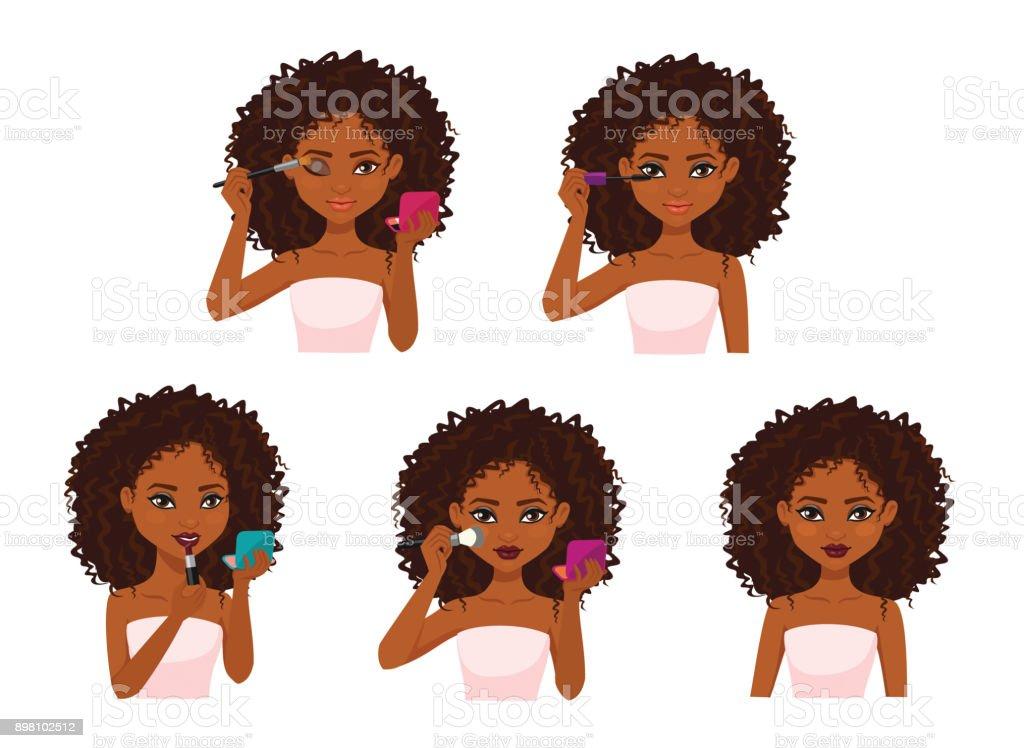 Beautiful woman with dark brown skin doing makeup. vector art illustration