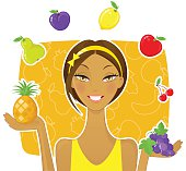 Beautiful woman with different fruits