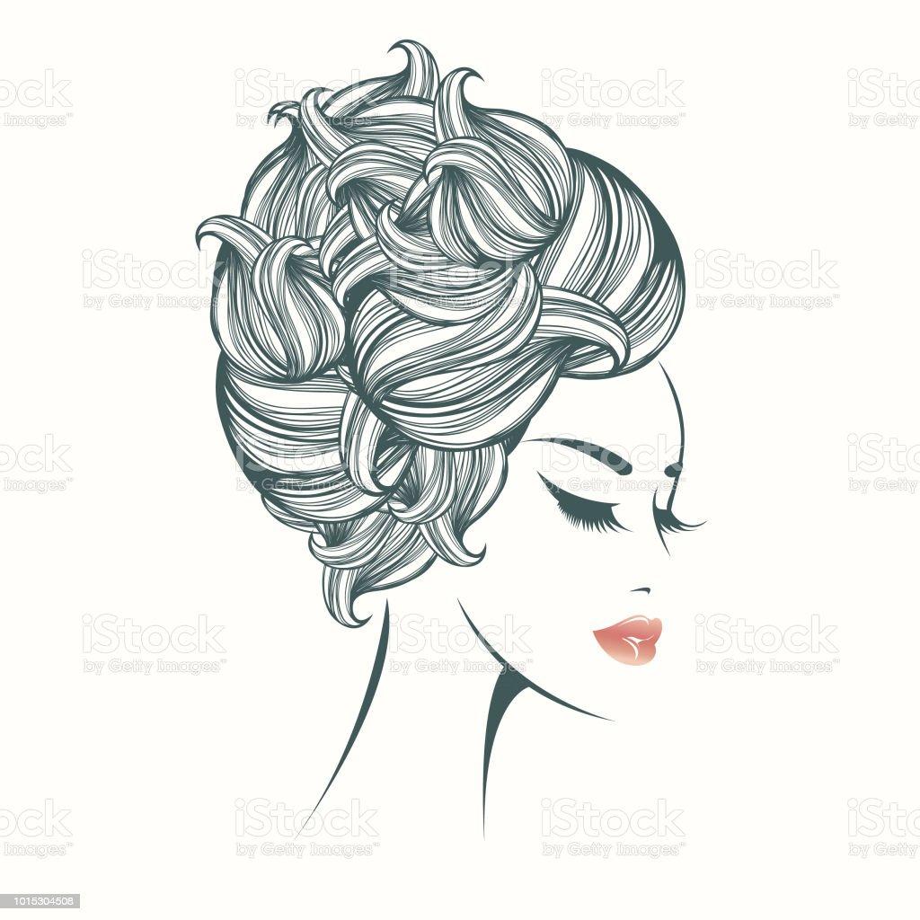 エレガントな髪のお団子と化粧美人 1人のベクターアート素材や画像を