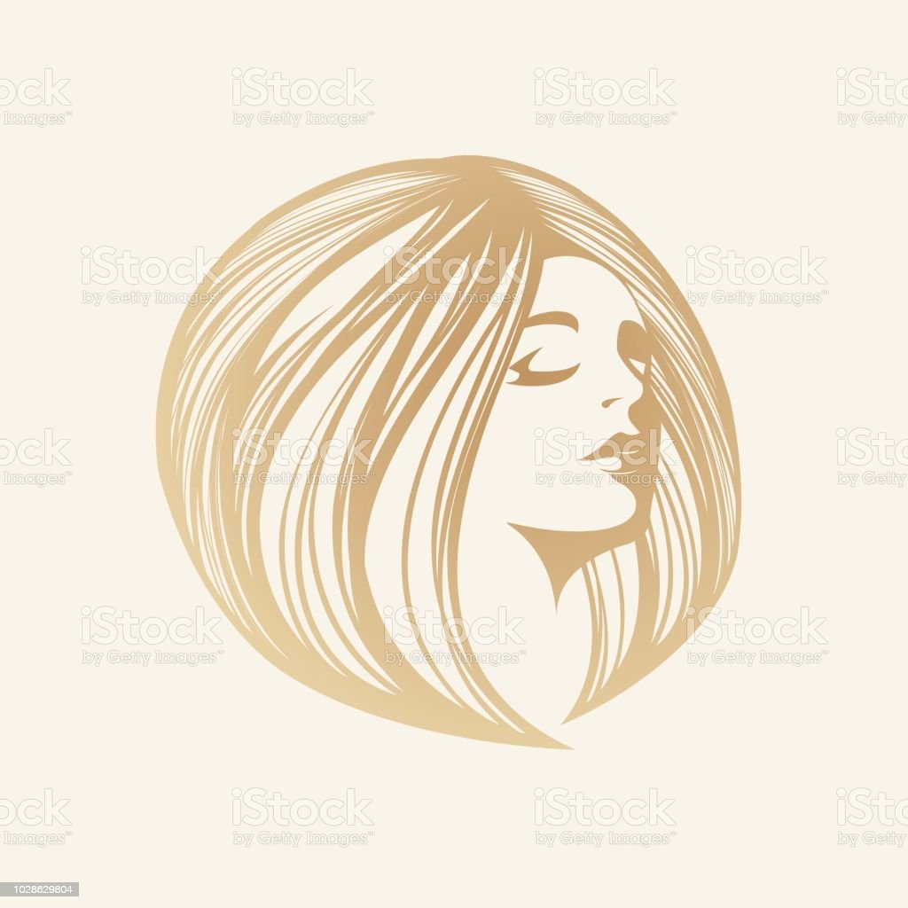 Beautiful  woman with elegant hairstyle and makeup vector art illustration