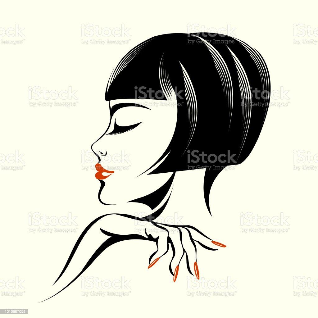 エレガントなヘアスタイルメイクやマニキュアと美しい女性 1人の