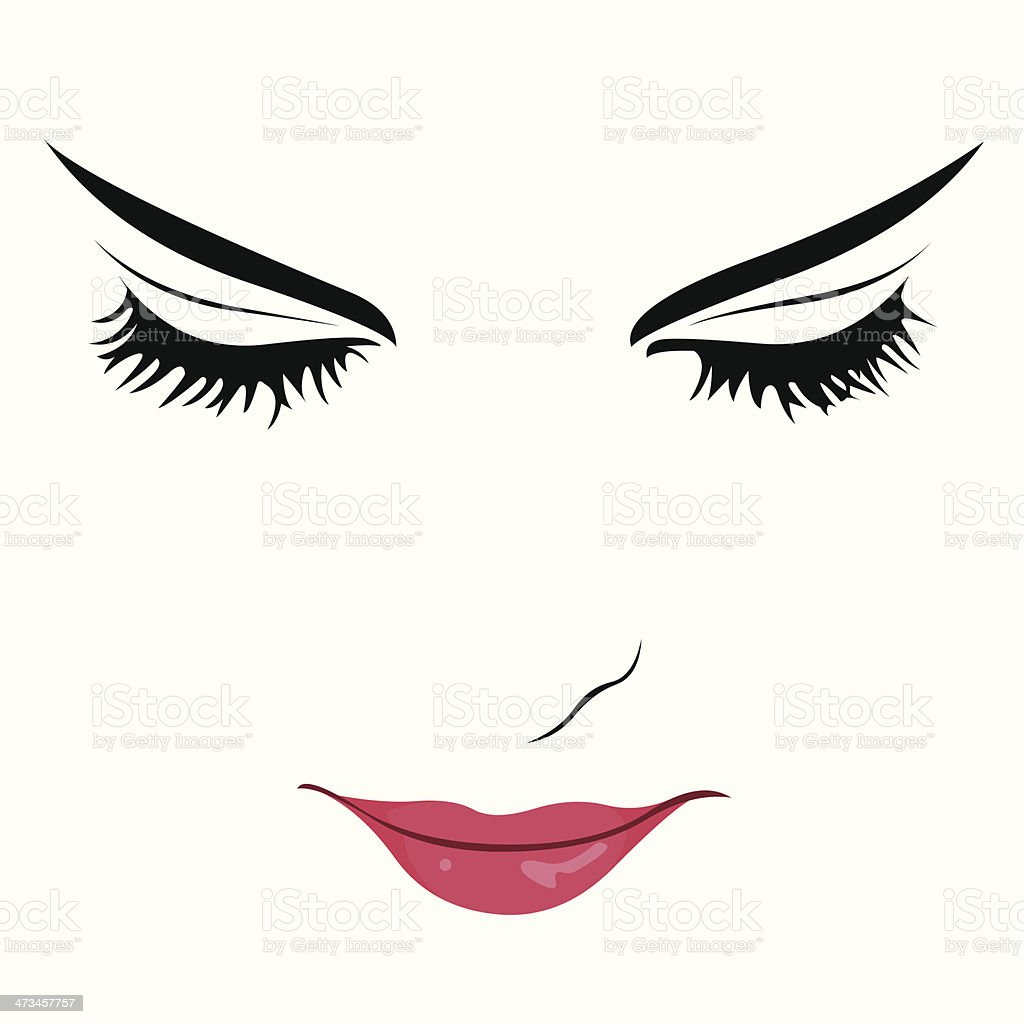 Beautiful woman with eyes closed vector vector art illustration