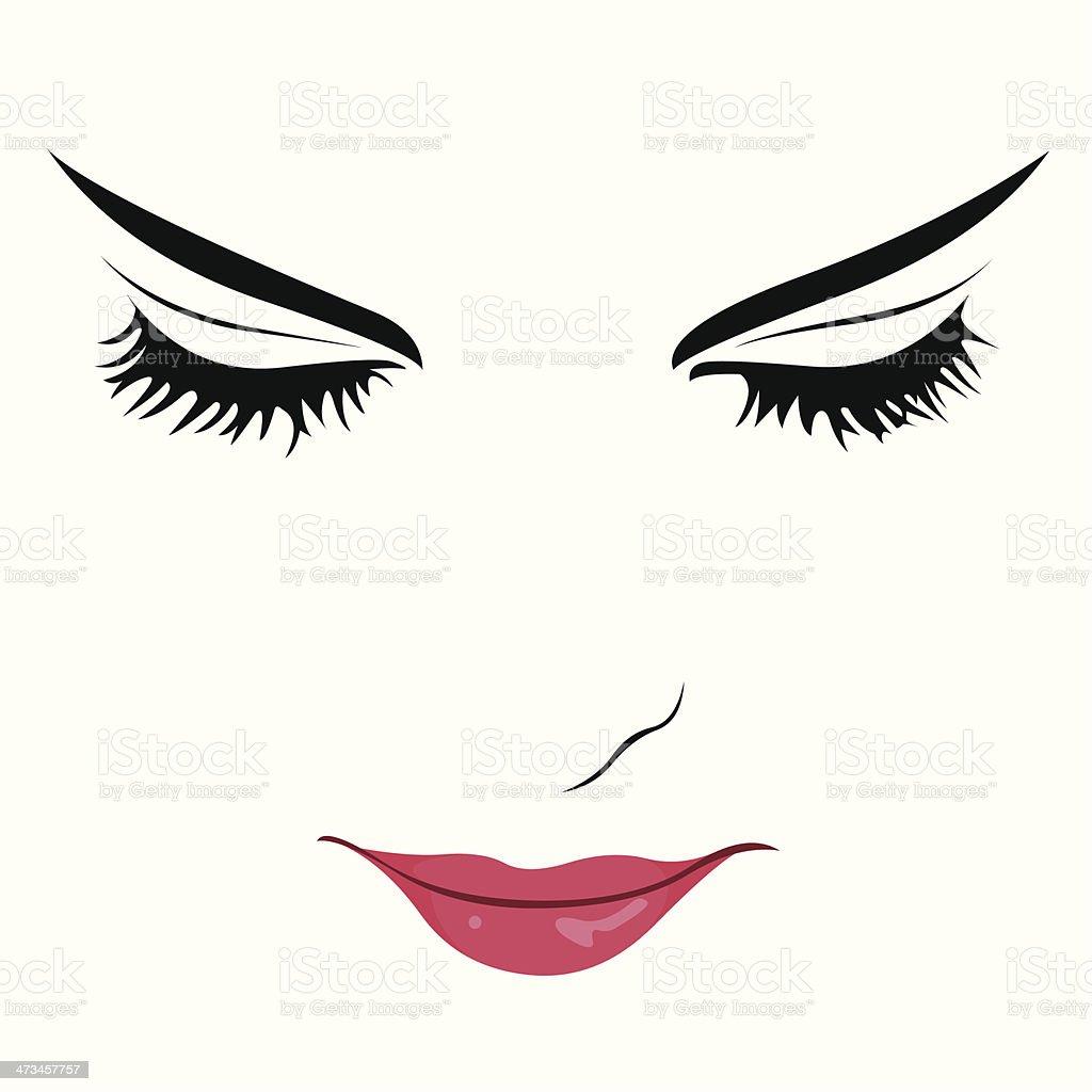 Schöne Frau mit Augen geschlossen - – Vektorgrafik