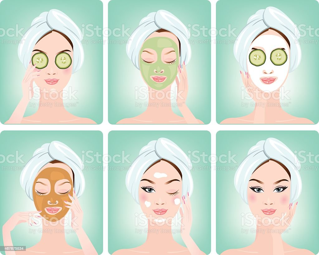Beautiful woman with facial mask of cucumber slices on face vector art illustration