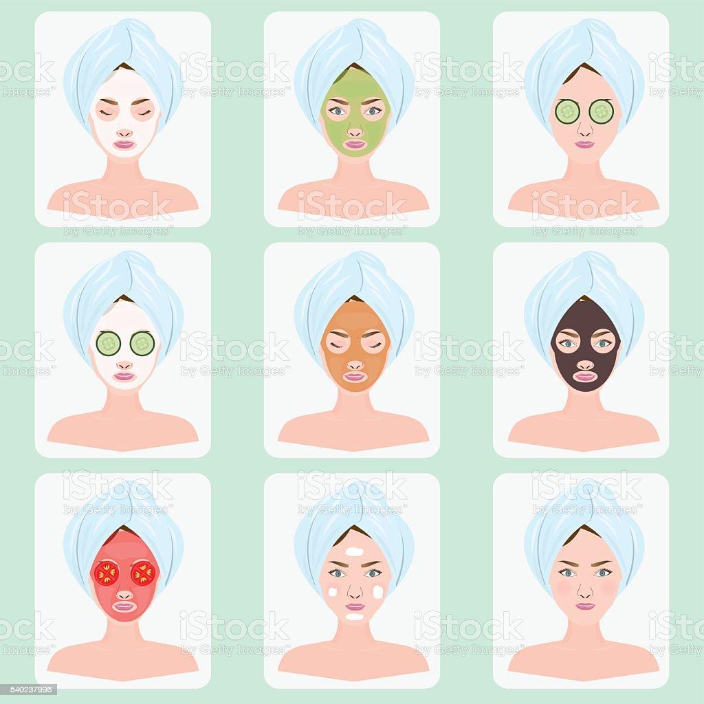 Hermosa mujer con máscara facial. - ilustración de arte vectorial