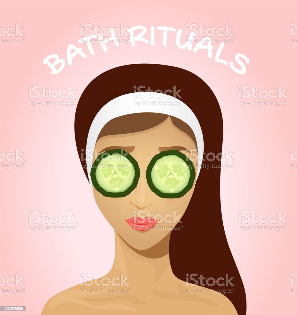 Beautiful woman with facial mask vector art illustration