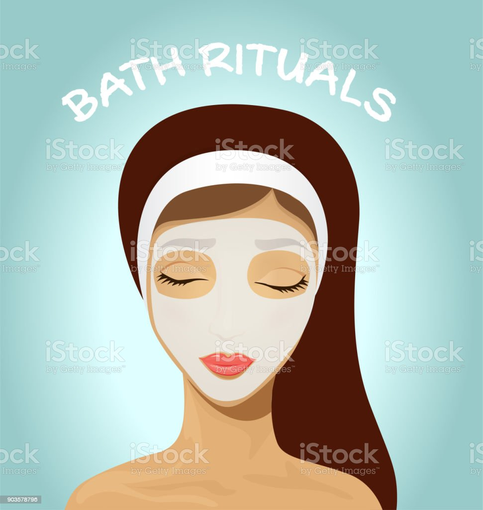 Beautiful woman with facial mask. vector art illustration