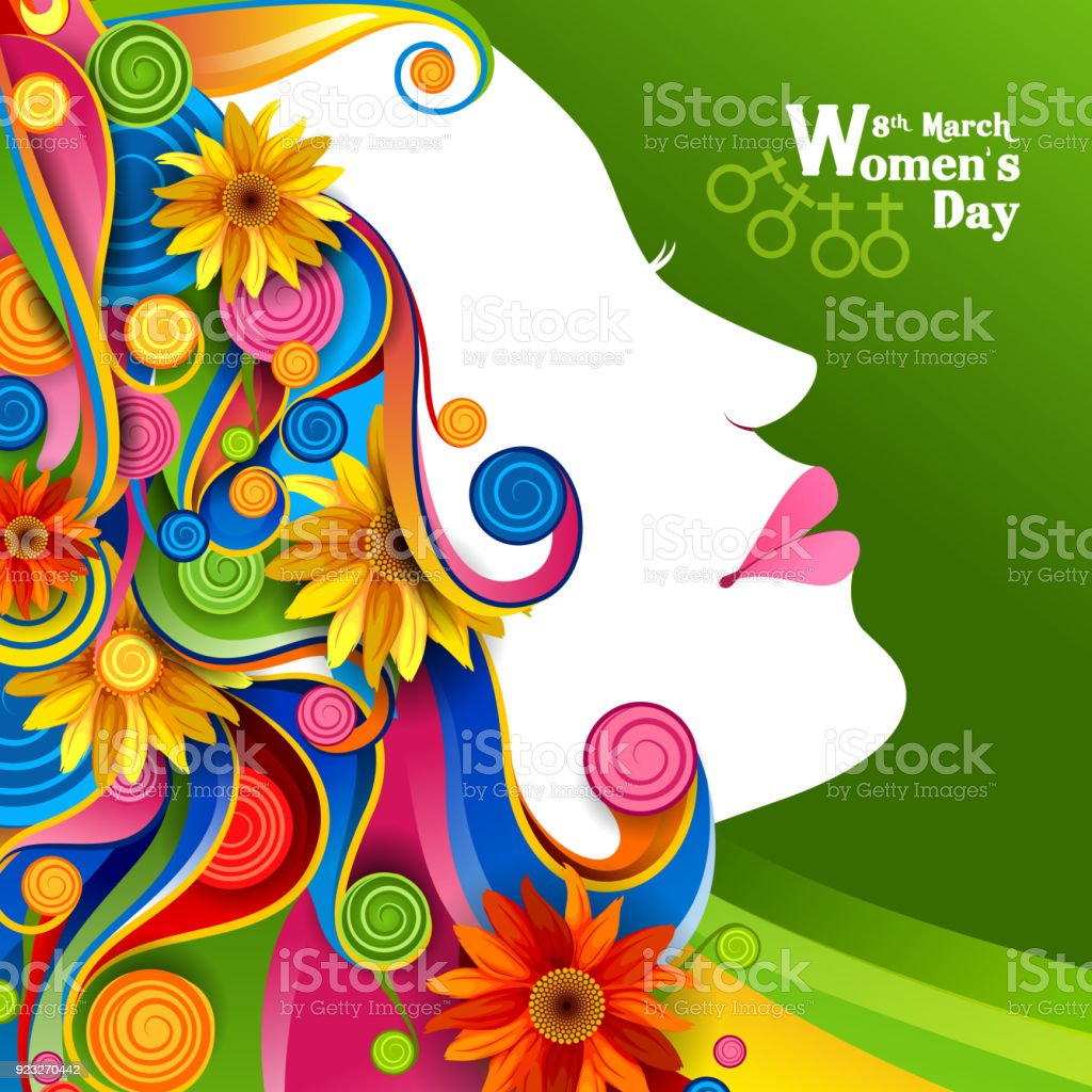 Beautiful Woman With Flower For Happy International Womens Day