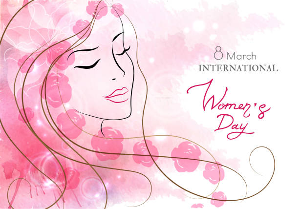 beautiful woman with flowers. watercolor pink background. mother s day, 8 march, beauty, style - international womens day stock illustrations, clip art, cartoons, & icons