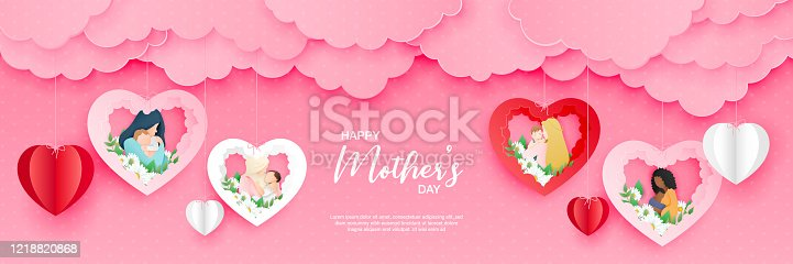 istock Beautiful woman with her baby. Happy mothers day card. Paper cut style. Vector illustration 1218820868
