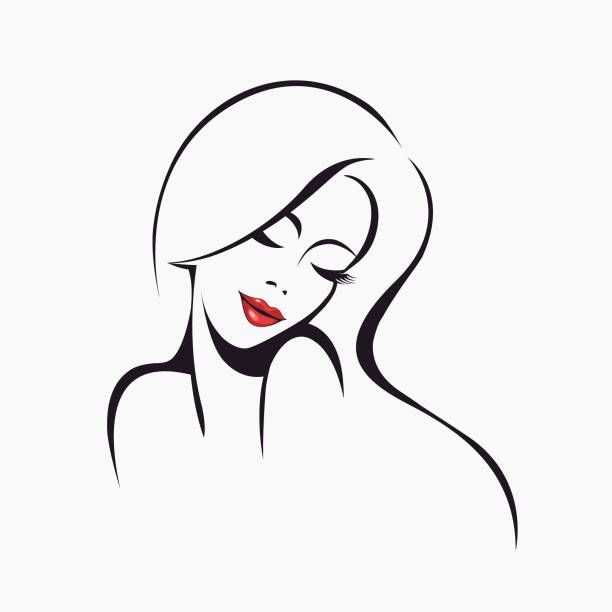 beautiful woman with long hair and bold makeup, wearing shiny red lipstick on her lips.cosmetics and beauty salon vector icon. - symbol seksu stock illustrations