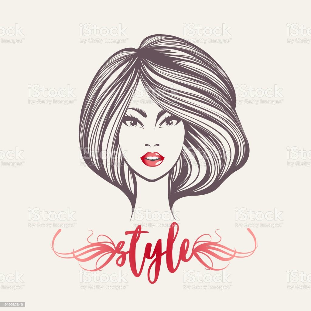 Beautiful woman with modern hairstyle and makeup, wearing shiny red lipstick on her lips.Beauty and hair salon vector icon. vector art illustration
