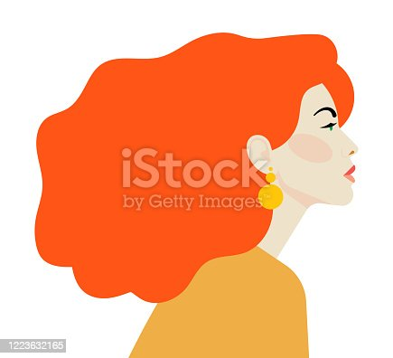 istock Beautiful woman with red hair. Side view. Bright beauty stares ahead. Feminist or girl who fights for women's rights. 1223632165