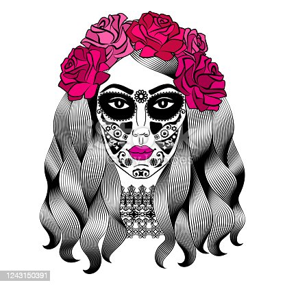 istock Beautiful woman with sugar skull makeup. Mexican Catrina skull makeup. Senorita in Day of the Dead. Girl with rose in hair. Vector illustration 1243150391