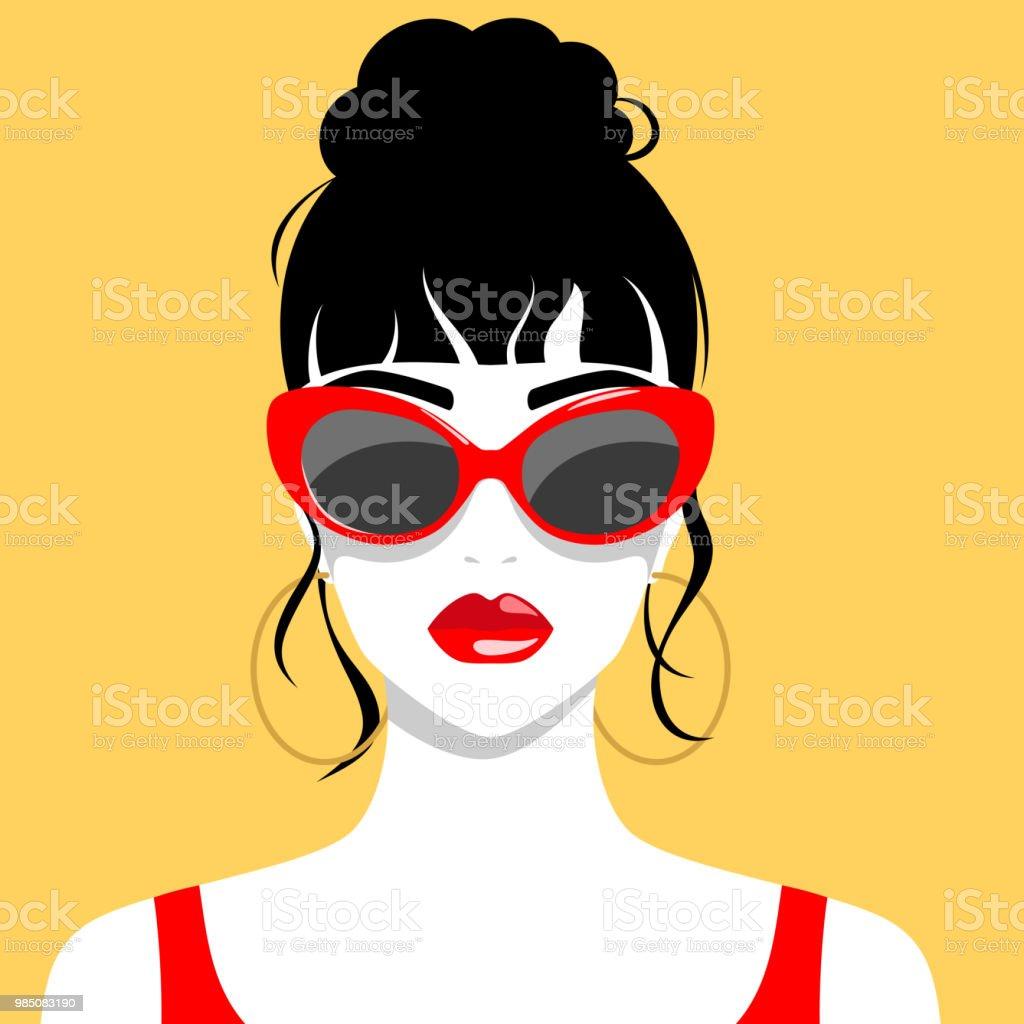 Bella mujer con gafas de sol ilustración de bella mujer con gafas de sol y más vectores libres de derechos de a la moda libre de derechos