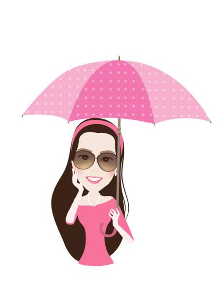 illustrazioni stock, clip art, cartoni animati e icone di tendenza di beautiful woman with umbrella polka dots - mockup outdoor rain
