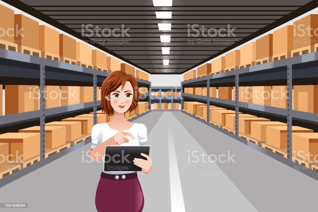 Beautiful Woman Working in a Warehouse Using Tablet PC vector art illustration