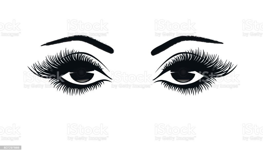 Schöne Frau Augen close-up, dicken langen Wimpern, schwarz / weiß-Vektor-illustration – Vektorgrafik