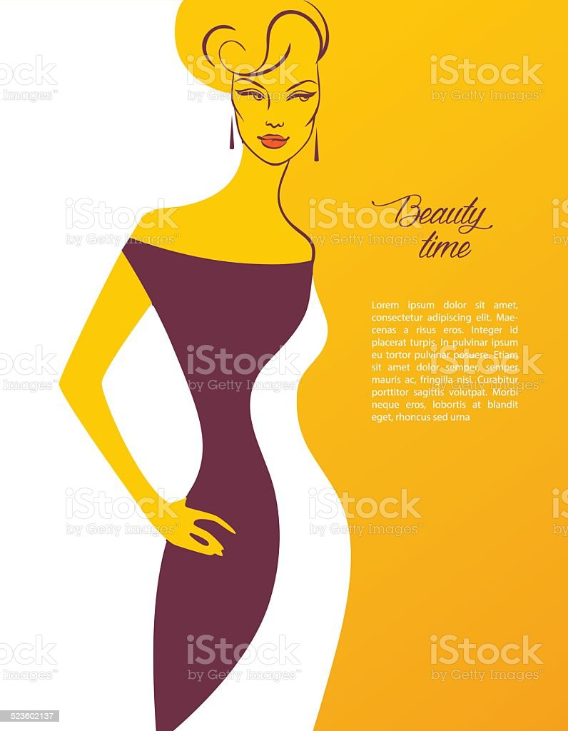Beautiful woman's silhouette image vector art illustration