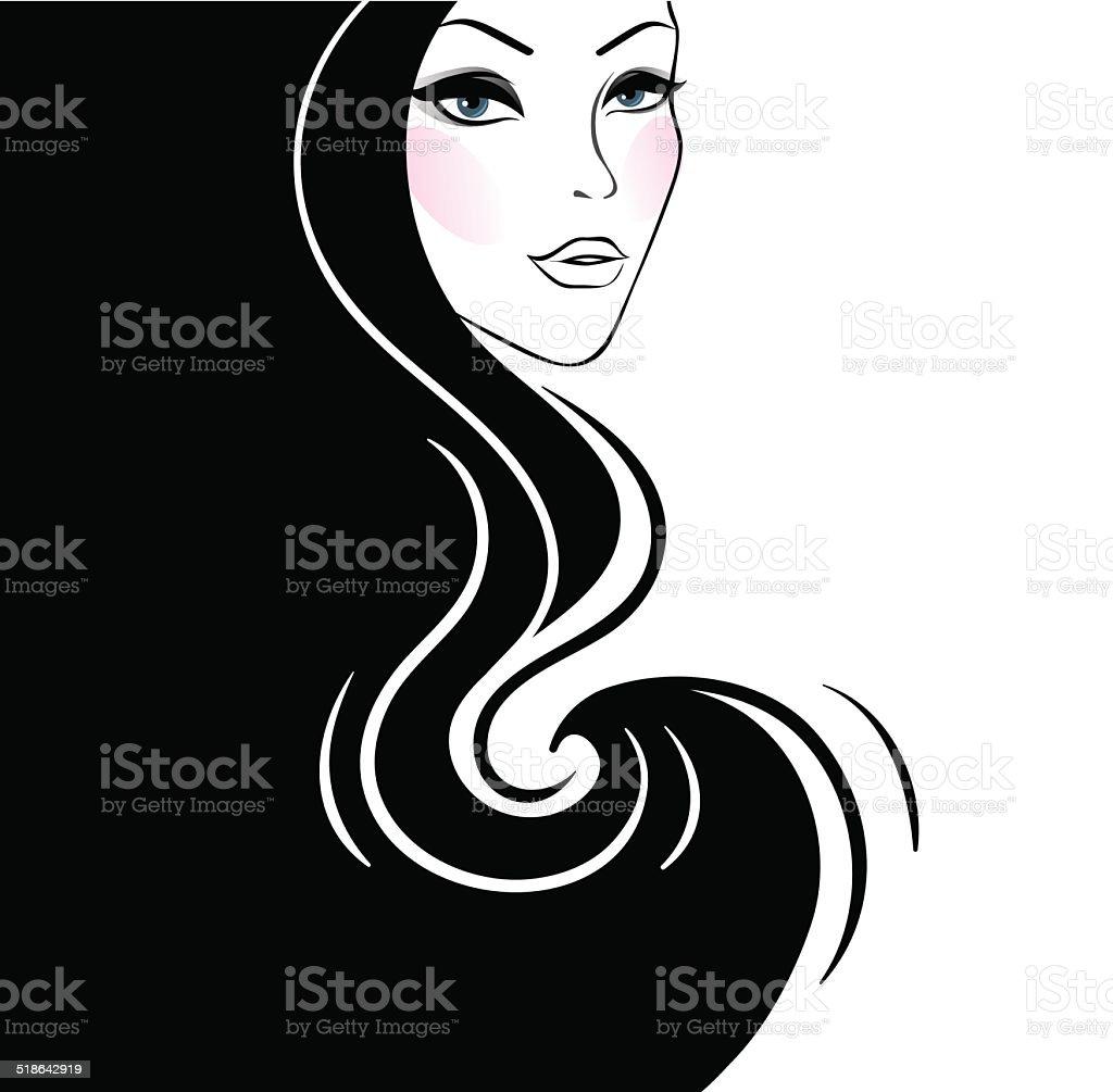 Beautiful woman's silhouette vector art illustration