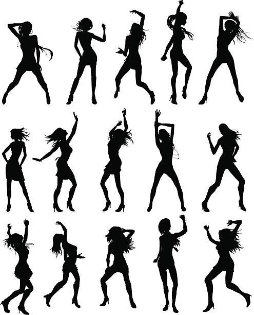 Beautiful women dancing silhouettes vector art illustration