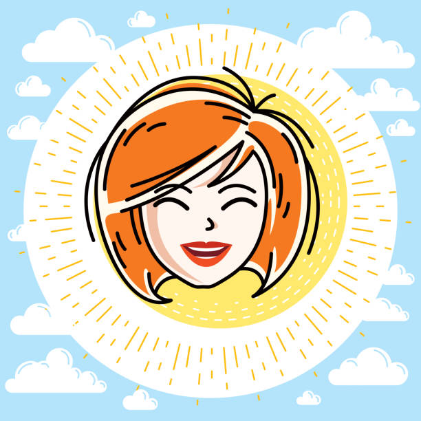 beautiful women face, human head. vector redhead character, attractive lady face features. - redhead stock illustrations, clip art, cartoons, & icons