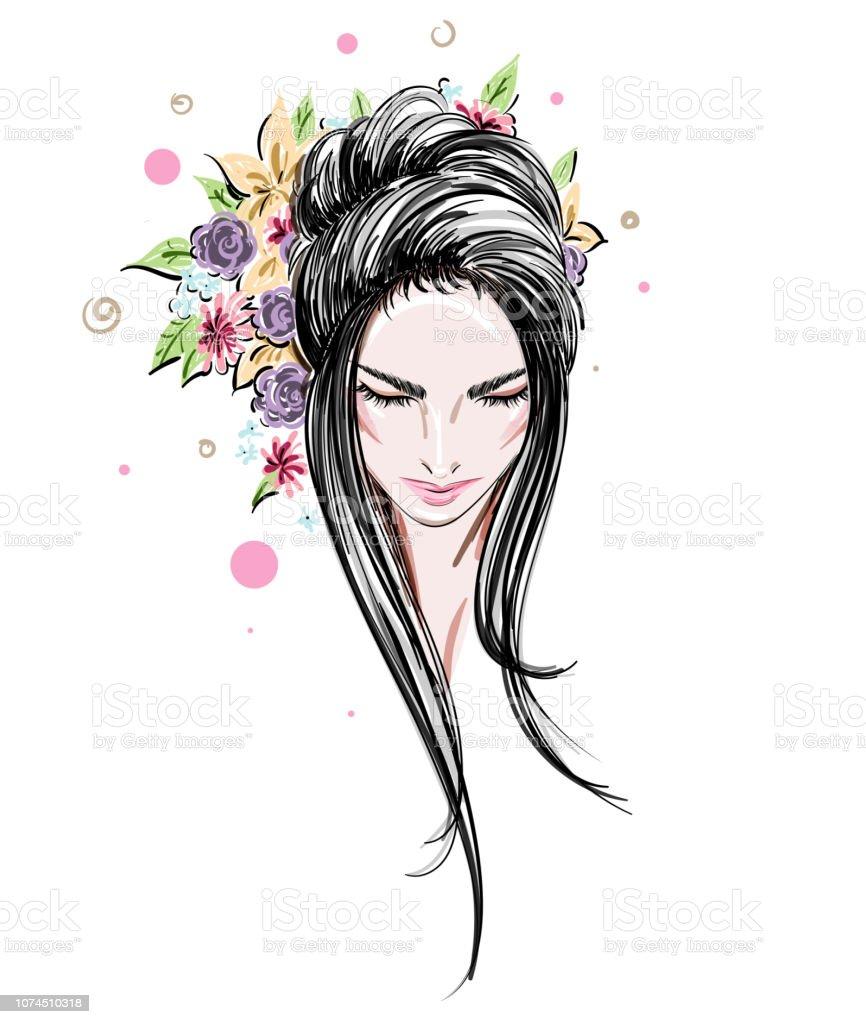 Beautiful women, logo women face makeup on white background, vector vector art illustration