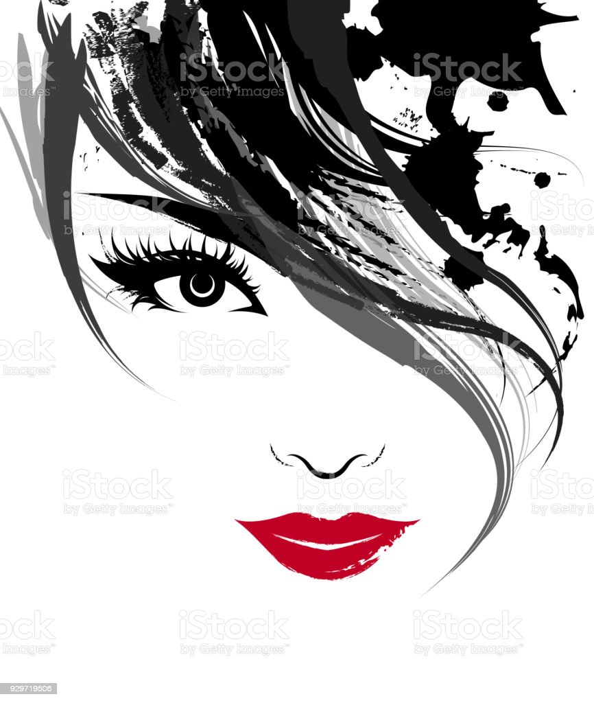 Beautiful Women Logo Women Face Makeup On White Background