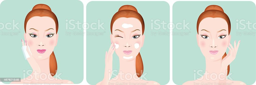 Beautiful women nourishing her face.vector illustration vector art illustration