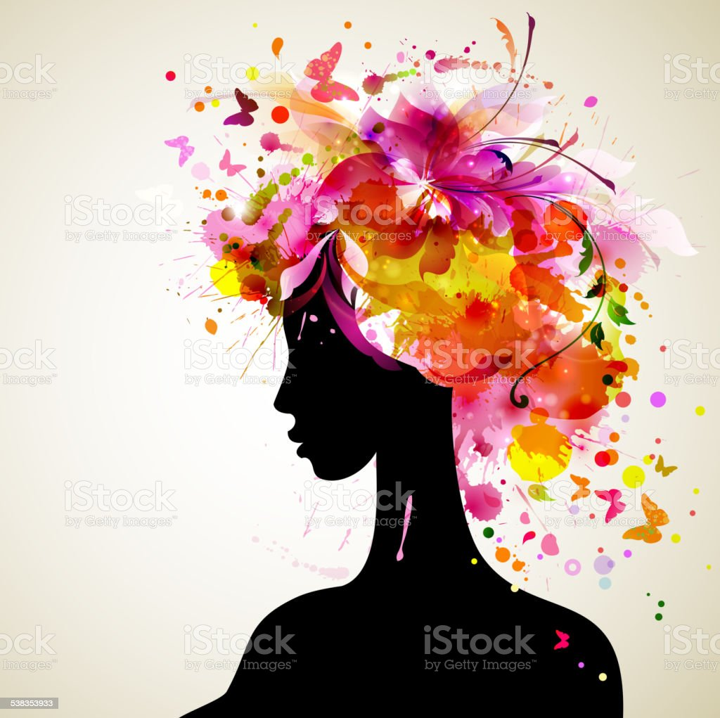 Beautiful women vector art illustration